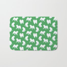 Samoyed Pattern (Green Background) Bath Mat