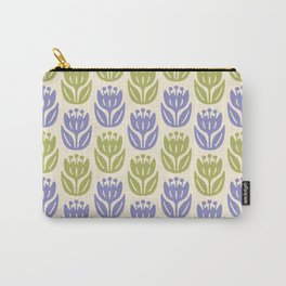 Mid Century Modern Flower Pattern Lavender and Chartreuse 431 Carry-All Pouch