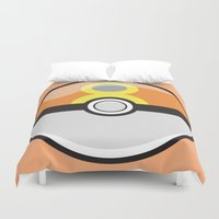 pokeball Duvet Covers featuring Repeat Pokeball by Pi Design Prints