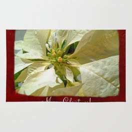 Pale Yellow Poinsettia 1 Merry Christmas P5F1 Rug