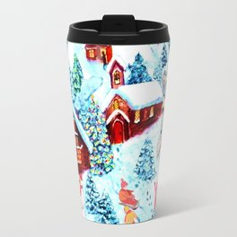 Swiss village in the snow, log cabins, snow days, Alpine watercolor painting by Magenta Rose Designs Travel Mug
