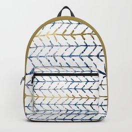 Indigo Gold Herringbone Pattern Backpack