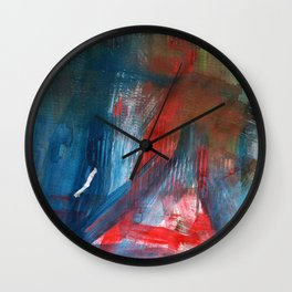 Combed Through Blue and Red Wall Clock