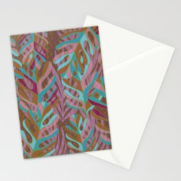 Tropical Burst, pink and green leaf pattern Stationery Cards
