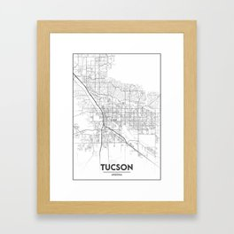 Minimal City Maps - Map Of Tucson, Arizona, United States Framed Art Print