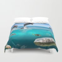 wildlife Duvet Covers featuring Marine Wildlife by FantasyArtDesigns