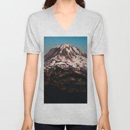 Mt Rainier Dusk Unisex V-Neck