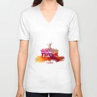 vienna V-neck T-shirts featuring Vienna skyline by jbjart