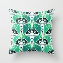 The art design. Retro . Green . Throw Pillow