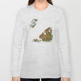 Winter in the forest - Animal Bunny Illustration Long Sleeve T-shirt