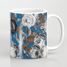 Romantic English Vintage Roses on Classic Blue Coffee Mug