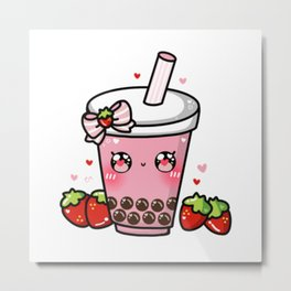 Strawberry Bubble Tea Metal Print
