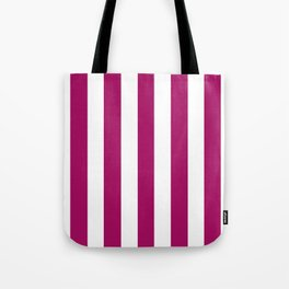 Jazzberry jam violet - solid color - white vertical lines pattern Tote Bag