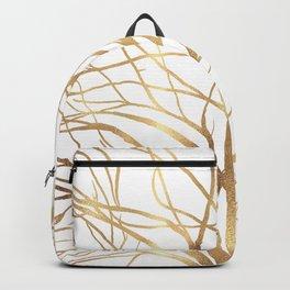 Modern Gold Tree Silhouette Minimal White Design Backpack