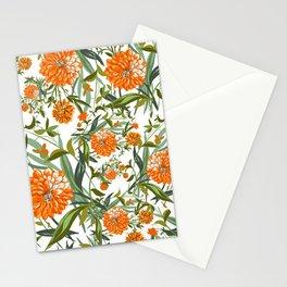 Orange Spring Summer Flowers Boho Stationery Cards