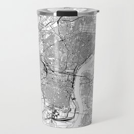 Philadelphia White Map Travel Mug