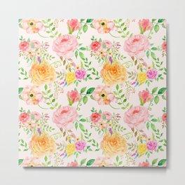 Watercolor Peach Rose Pattern Metal Print