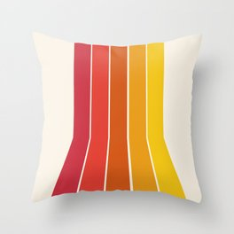 Rad - retro throwback 70s 1970s stripe beach 70's vibes minimal art Throw Pillow