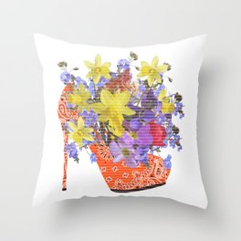Blooming Shoe Throw Pillow