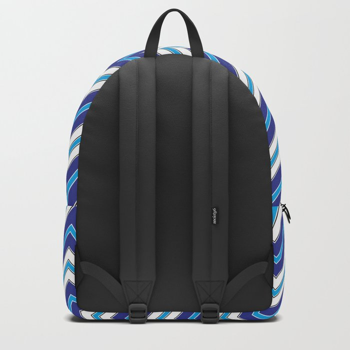 Chevron Pattern | Zig Zags | Blue, Black and White | Backpack