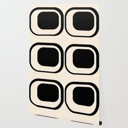 Mod 3 Minimalist Black and Almond Cream Modern Retro Abstract Wallpaper