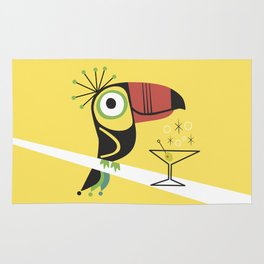 Swank Mid Century Modern Toucan Tiki Bird With Martini Rug