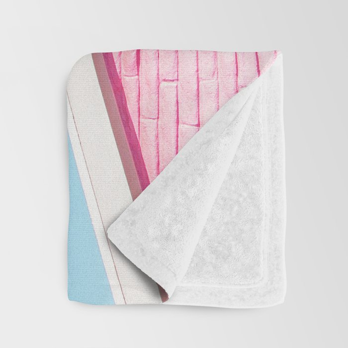 Pink House Roofline with Palm Trees (Palm Springs) Throw Blanket