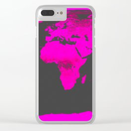 worLD MAP Fuchsia Pink & Gray Clear iPhone Case