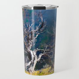 Old trees against the backdrop of the mountain Travel Mug