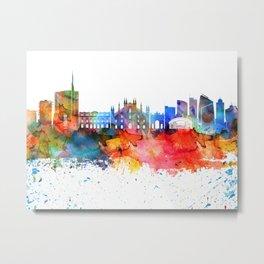 Milan Colorful Drops Skyline Metal Print