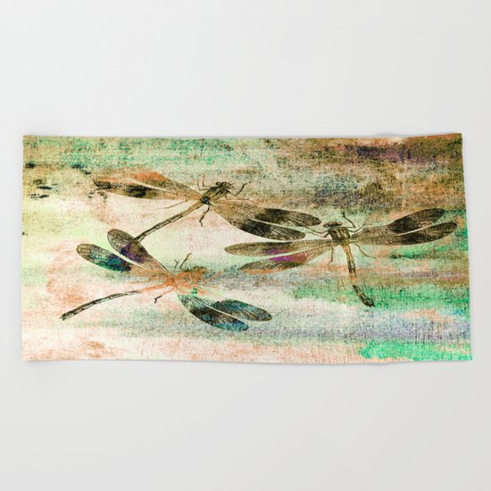 Mauritius Vintage Dragonflies QR Beach Towel
