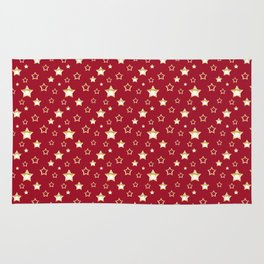 Gold stars on a red background. Rug