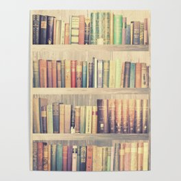 Dream with Books - Love of Reading Bookshelf Collage Poster