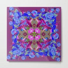 Garden Art  Blue Morning Glories Purple Patterns Metal Print