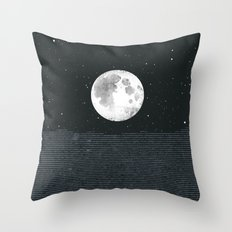 Grey Moonscape Throw Pillow