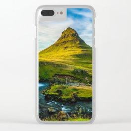 Triple waterfalls of Kirkjufell in Iceland I Clear iPhone Case