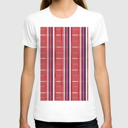 Red, White & Blue on Red Background (striped / semi-checkered) T-shirt