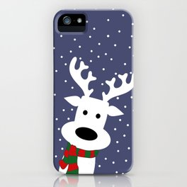 Reindeer in a snowy day (blue) iPhone Case