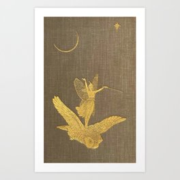 Owl And Fairy Art Print