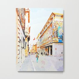 Teramo: woman walks along the course Metal Print