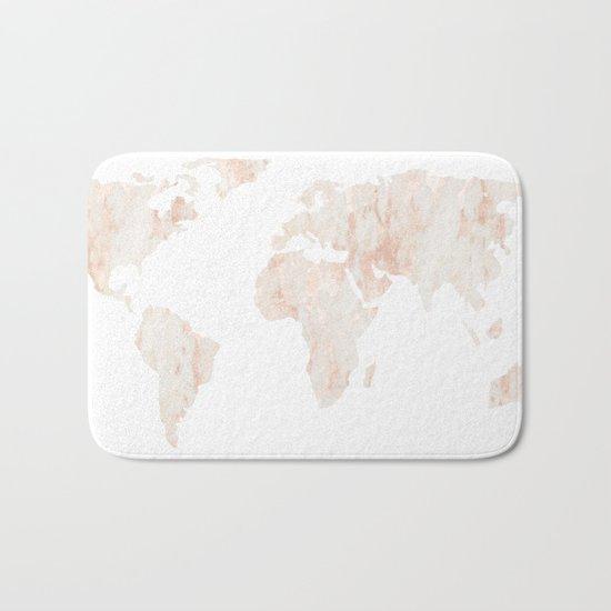 Marble World Map Light Pink Rose Gold Shimmer Bath Mat