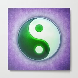 Yin Yang - Labradorite Green Metal Print