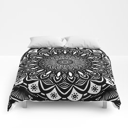 Bold Mandala Black and White Simple Minimal Minimalistic Comforters