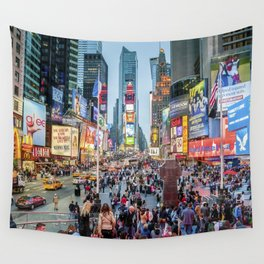 Times Square Tourists Wall Tapestry