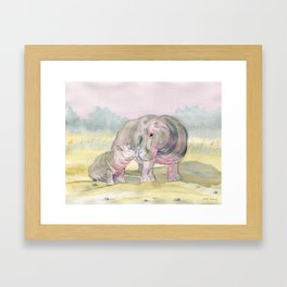 Colorful Mom and Baby Hippo Framed Art Print
