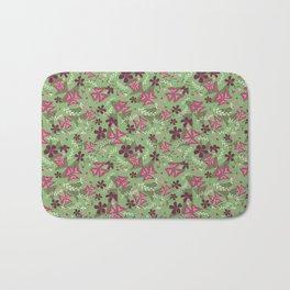 Purple Shamrock Floral Layered Pattern / Green Bath Mat