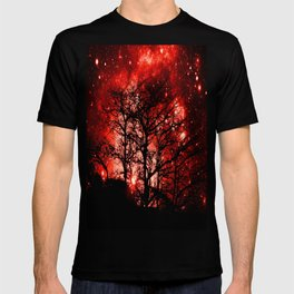 black trees red space T-shirt