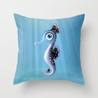 seahorse Throw Pillows featuring Seahorse by Heidy Curbelo