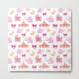 pink baby girl pattern Metal Print
