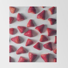 FRESH - CUT - STRAWBERRIES - PHOTOGRAPHY Throw Blanket